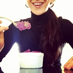 boulder acupuncturist caitlin gordon eating purple sweet potatoes on a sugar cleanse